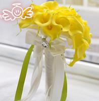 Желтые лилии RU-Искусственные цветы водослива каллы лилии букеты цветок искусственный Калла желтый PU цветок для свадебных букетов свадебные украшения