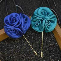 Wholesale Silk Suits China - 2016 Silk Rose Flowers Brooch Lapel Pins Fashion Handmade Boutonniere Stick Gentleman Suit Brooches Pin Women Men Accessories Gift H6604