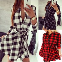 Wholesale Autumn Hot Lady Plaids Prints Turn Down Collar Sleeves Ropes Waist Mini Shirt Dresses Women Fashion Wide Sweep Vestido