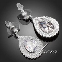 antique gold earings - AZORA Elegant Pear Cut Clear Cubic Zirconia Drop Earrings TE0115 earrings antique earings china earings china