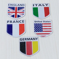 aluminum nameplate - New D Aluminum ENGLAND FRANCE GERMANY ITALY US National Flag Emblem Badge Car Motorcycle Signage Nameplate Logo Car Stickers