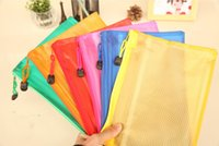 Wholesale Office supplies A5 mesh zip file bag a variety of color matte mesh bag students stationery bag