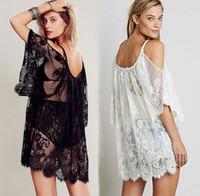 Wholesale Women Tops Lace Vest Women Sexy Lace Tops Sunscreen Clothing Dew Shoulder Suspenders Sandy Beach Smock