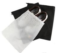 al por mayor libre de polvo-Promoción No tejida Zapato Cordón Viaje Almacenamiento Zapato A prueba de polvo Tote Bolsa de polvo Bolsa Negro Bolsa blanca Bolsa de viaje A prueba de polvo zapato libre fedex