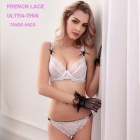 Cheap Wholesale-Transparent Bra Ultra-thin Lace Sexy Bra and Panty Sets VS Womens Underwear French Lingerie Set Plus Size 70D 90D 95D White Bras