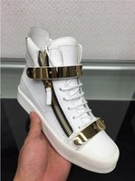 Wholesale 2016 New genuine leather Double buckle high top men women sneakers zanottys Fashion casual shoes