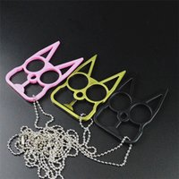 animal shapes girls - Novelty Self Defense Keychains Kitty Cat Key rings New Designer Car Key Pendants U Shape Metal Chains Colors Oversized KeyChains B0554