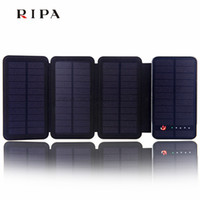 Wholesale R5 Max Tablets Solar Power Bank mAh Four Solar Panels Dual USB LED External Mobile Phone Battery Charger Backup Powerbank with Holster
