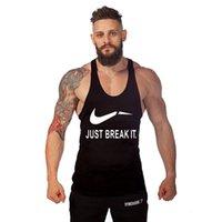 Wholesale 2016 Mens Professional Gym Clothing Tanks Shark Tops Bodybuilding Equipment Just Break It Cotton Shirt Clothes Singlets Fitness Wear