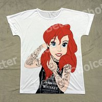 Wholesale Track Ship T shirt Tee T Top Tee Cartoon Tattoo Red Hair Princess Beauty The little Mermaid