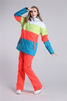 Wholesale Winter Women Skiing Suits Outdoor Ski Patchwork Jacket Ski Pant Really Warmth Thicken Waterproof High Quality