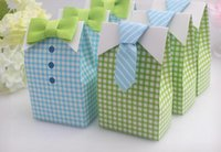 Wholesale 300 My Little Man Blue Green Bow Tie Birthday Boy Baby Shower Favor Candy Treat Bag Wedding Favors Candy Box gift Bags