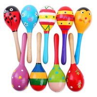 Wholesale Baby Sand Ball Wooden Rattles Bed Bell Baby Educational Toys Hand Bell Random Color