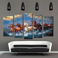 Конные фотографии Цены-Дух Up Art Большой бегущие лошади, картина живописи на холсте Печать без подставил, современный дом украшения стены искусства