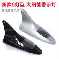 Wholesale Car decoration anti static antenna solar LED flashing rear end vehicle shark fin antenna lamp