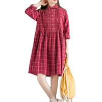 artistic shirts - Autumn Colorful Artistic Vintage Peter Pan Collar Wild Loose Dresses Women All Match Buttons Cotton Red Plaid Shirt Dress A006