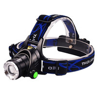 Wholesale Camping Headlamp Cree XML T6 LED Lumens Modes Zoomable Handsfree Headlight Rechargeable Batteries Included for Camping Higking Cycl