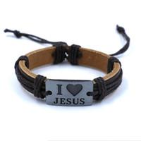 achat en gros de gravés bracelets en cuir femmes-bracelets en cuir chrétiens Rétro J'AIME charme JESUS Gravé en alliage tissé Bracelet pour hommes femmes mode gros bijoux