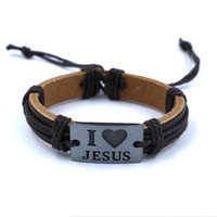 african weaving - Retro Christian leather bracelets I LOVE JESUS Engraved Alloy Woven charm Bracelet for men women Fashion jewelry