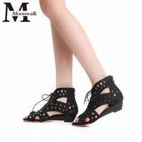 Wholesale 2016 Brand Design Wedges Sandals Woman Summer Fretwork Lace Up Zipper Closure Fashion Casual Shoes Woman Personality Models