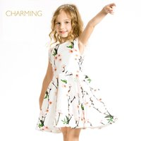 best floral designers - Brand new floral dress Designer children s clothing Quality printing round neck sleeveless dress Best suppliers from china
