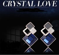 big diamond earrings for men - Foreign luxury box earrings Ms earrings accessories for men and women in Europe and America Korean version of the big blue cube