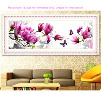 Wholesale DIY Handmade Needlework Crafts Embroidery Cross Stitch Kits Set Elegant Pink Magnolia Design D Pattern Stitching cm