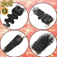 Wholesale 6A Unprocessed Human Hair Lace Closure Brazilian Hair Body Wave Curly Straight x4 Top Closure Bleached Knots