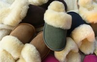 Wholesale home slippe Genuine sheepskin indoor slipper unisex winter indoor shoes long wool warm sheep skin men women indoor slipper