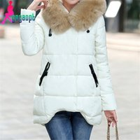 Wholesale Gagaopt large fur collar cotton padded jacket fashion with hoodies thicked down coats for woman winter outer wear snow wear