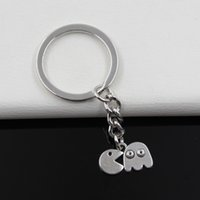antique men s ring - Fashion diameter mm Key Ring Metal Key Chain Keychain Jewelry Antique Silver Plated pac man retro s arcade game mm Pendant