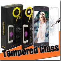 Precio de Pantallas digitales-Para el protector de la pantalla de iphone7 7plus s7 Vidrio templado Anti-huella digital templada 0.26mm 2.5D 9H Prueba de la explosión con el paquete de papel