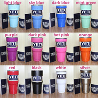 Wholesale New oz YETI Rambler Tumbler Cup Red Purple Pink Light Pink Blue Light Blue Orange Light Green Black White Stainless Steel Tumbler Mug