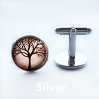 Wholesale New Fashion Gift Jewelry Mens Cuff Links Natural Landscape Tree Pattern Cufflink Round White Golden Plated Cuff Link Men