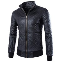 best motorcycle jacket - Fall Fashion Punk Style Men Motorcycle Leather Clothing Jacket Best selling Rhombus Plaid Solid Leather Coat ZPY32