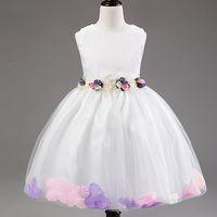 Cheap Flower Girl Dresses Sleeveless Chiffon Rose Petal Dress Wedding Bridesmaid For Baby Children Toddler Teen Girls Princess Tulle Kids Clothing