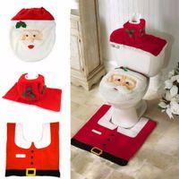 Wholesale The newest christmas products supplies decorations items Santa claus Toilet Seat Cover Bathroom Set ornaments enfeites de natal papai noel