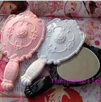Wholesale DHL Vintage Rose Cosmetic Mirror Plastic Makeup Mirror Cute Girl Hand Make Up mirror