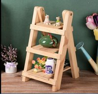 bathroom wooden flooring - 22 cm Wooden Home Products Sundries Storage Organizer Retro Storage Holders Display Rack Folding Small Ladder Fleshy Flower Shelf