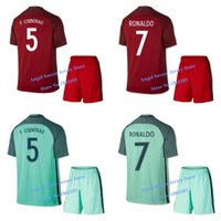 Cheap 2017 Portugals Home Red Away Green Soccer Jerseys 16 17 Portugals RONALDO FIGO NANI National Team football shirt short kits