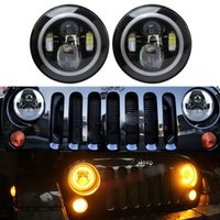 angels eyes headlights - Angel eyes LED Headlight For Wrangler JK TJ H4 Hi lo Beam LM Front Driving Headlamp Styling Head Light For Land Rover
