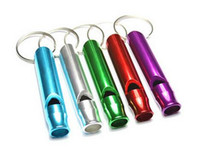 Wholesale Mini outdoor Survival Key Chain Camping hiking Emergency Whistle Aluminum