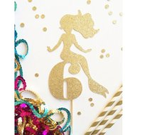 Decorative Paper age decorative accessory - glitter custom Mermaid Age number or intial cupcake toppers Food Picks girls birthday party cake decors