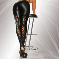 al por mayor pantalones de cuero-2016 Sexy Encaje hasta el estiramiento material lápiz pantalones Nueva Faux cuero Legging moda Negro Punk Leggings LG068