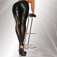 Wholesale 2016 Sexy Lace Up Stretch Material Pencil Pants New Women Faux Leather Legging Fashion Black Punk Leggings LG068