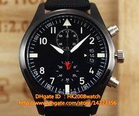 battery watering gun - New Luxury High Quality Montre d Aviateur Chronographe TOP GUN mm Mens Quartz Chronograph Watch IW388001 Black Dial Leather Strap Watches