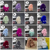 Wholesale Rex Rabbit Fur keychain Cute Rabbit Doll Key Chain Pendant Wallet Pom Pom women handbag Car Pendant best gift