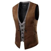 Wholesale 2016 New Arrival Fake two piece Suit Vests Leisure Mens Wedding Waistcoats Colors Business Dress Blazer Vests For Men Hot Sale