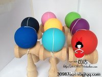 Wholesale kendama rubber paint beech wood Funny Japanese Traditional Game Toy Ball colorful Elastic diy logo costomize