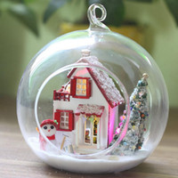 Wholesale DIY Wooden Christmas Tree Snowman D Miniature Toy Doll House Voice Control LED Light Glass Ball Kids Educational Toy Gift
